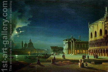Venice by Moonlight by Ippolito Caffi - Reproduction Oil Painting