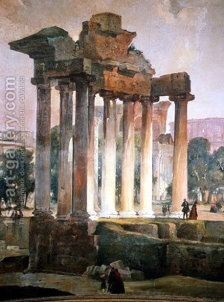 The Ruined Temple of Saturn in The Roman Forum by T. Caffi - Reproduction Oil Painting
