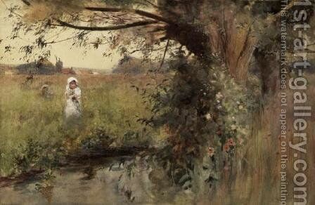 Collecting flowers by the Stream by Hector Caffieri - Reproduction Oil Painting