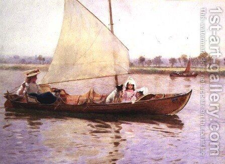 A Lazy Day on the River by Hector Caffieri - Reproduction Oil Painting