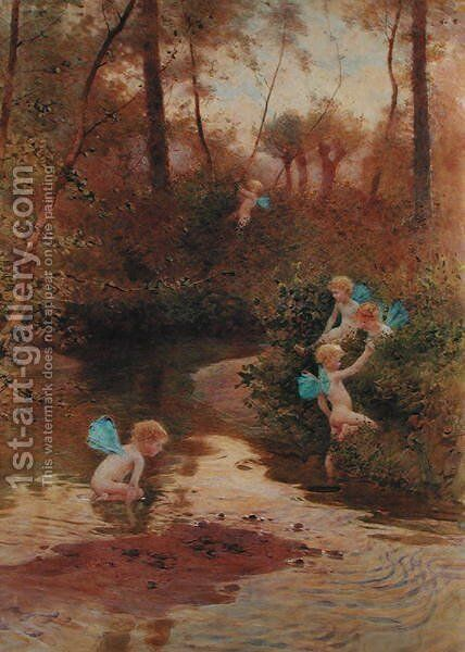 Waterbabies by Hector Caffieri - Reproduction Oil Painting