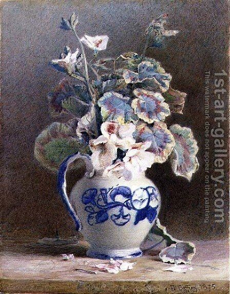 Geraniums in a China Jug, 1875 by Hector Caffieri - Reproduction Oil Painting