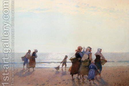 Mussel Gatherers by Hector Caffieri - Reproduction Oil Painting