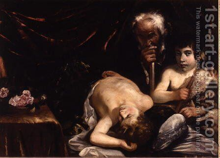 Sleeping Christ with St. John the Baptist and Zacharias, c.1630-40 by Guido Cagnacci - Reproduction Oil Painting