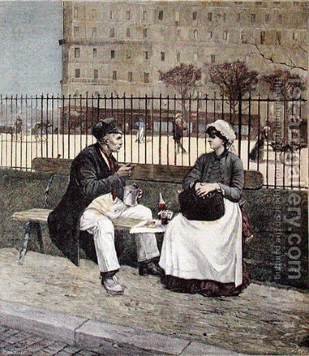 The Worker's Lunch, from 'Le Petit Journal', 1891 by Henri Cain - Reproduction Oil Painting