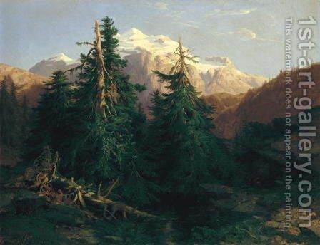 Glacier, Rosen Lanigletscher, 1854 by Alexandre Calame - Reproduction Oil Painting