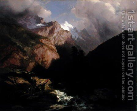 The Jungfrau, Switzerland by Alexandre Calame - Reproduction Oil Painting