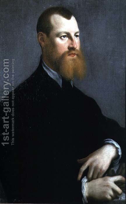 Portrait of a man with a ginger beard by Jan Steven van Calcar - Reproduction Oil Painting