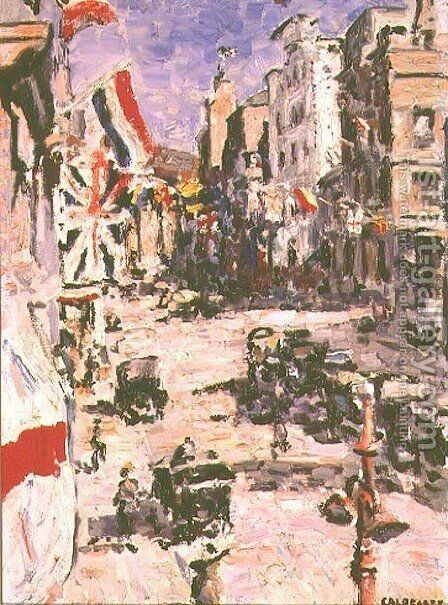 Royal Visit, St. George's Street, Cape Town, 1925 by Harry Stratford Caldecott - Reproduction Oil Painting