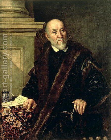 Portrait of Tommaso Giunta (1494-1566), 1563 by Benedetto Caliari - Reproduction Oil Painting