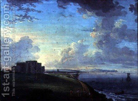 Highcliffe, near Christchurch, Dorset, the Seat of the Marquis of Bute, from the East by Adam Callander - Reproduction Oil Painting