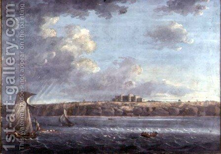 Highcliffe, near Christchurch, from the Sea by Adam Callander - Reproduction Oil Painting