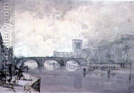 The Abbey and Nungate Bridge, Haddington, East Lothian by Sir Augustus Wall Callcott - Reproduction Oil Painting