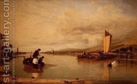 Dead Calm- Boats off Cowes Castle by Sir Augustus Wall Callcott - Reproduction Oil Painting