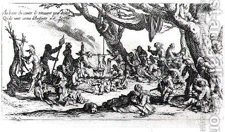 A Birth in a Gypsy Camp by Jacques Callot - Reproduction Oil Painting