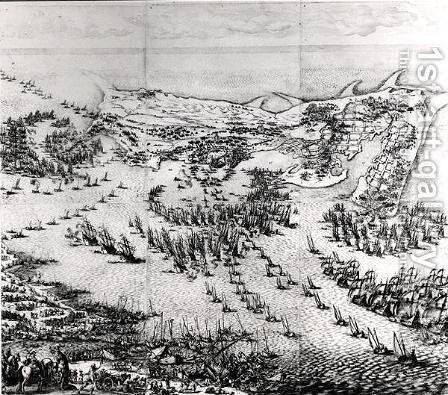 The Siege of the Citadel of Saint-Martin-de-Re in 1627, 1628-31 by Jacques Callot - Reproduction Oil Painting