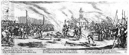 The Stake, plate 13 from 'The Miseries and Misfortunes of War' 1633 by Jacques Callot - Reproduction Oil Painting