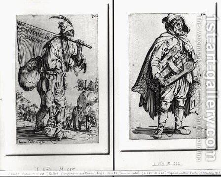 A Beggar and a Hurdy-Gurdy Player by Jacques Callot - Reproduction Oil Painting
