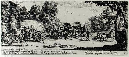 The Attack on the Stagecoach, plate 8 from 'The Miseries and Misfortunes of War' by Jacques Callot - Reproduction Oil Painting