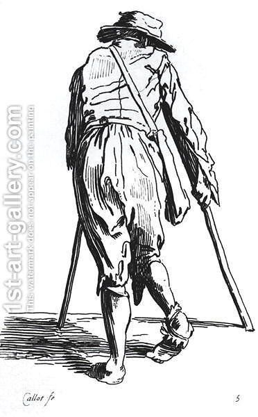 Beggar on his crutches, from behind by Jacques Callot - Reproduction Oil Painting