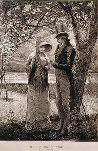 Her First Offer  (from 'The Illustrated London News', 23rd July 1881) by Edward Frederick Brewtnall - Reproduction Oil Painting
