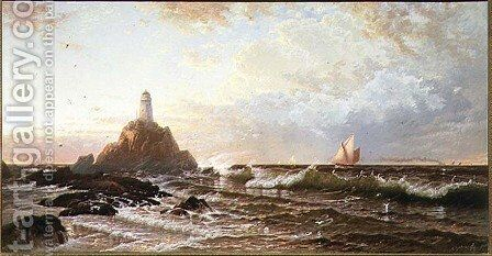 The Lighthouse by Alfred Thompson Bricher - Reproduction Oil Painting
