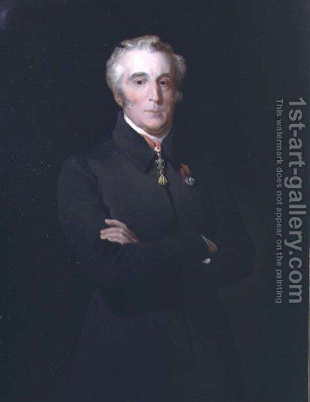 Portrait of Arthur Wellesley, 1st Duke of Wellington (1769-1852) wearing the Order of the Golden Fleece by Henry Perronet Briggs - Reproduction Oil Painting