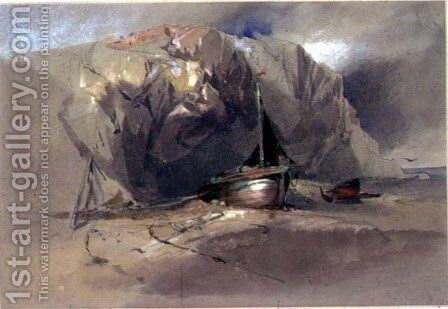 A Fishing Smack and a Small Boat drawn up on the Shore Beneath a Rocky Cliff by Henry Bright - Reproduction Oil Painting