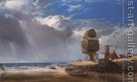 A Ruined Mill near Yarmouth by Henry Bright - Reproduction Oil Painting