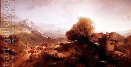 Welsh Landscape by Henry Bright - Reproduction Oil Painting