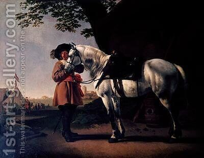A Cavalier with a grey horse by Abraham Van Calraet - Reproduction Oil Painting