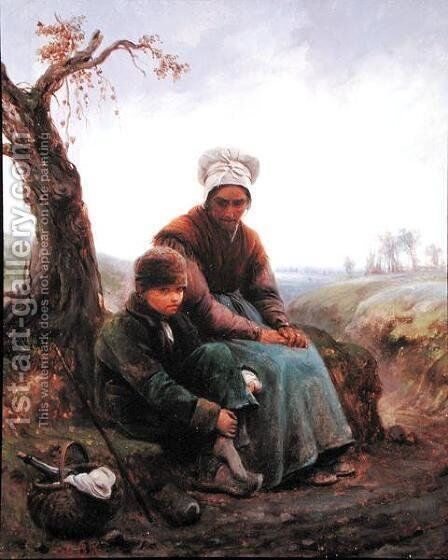 Peasant woman and boy, 1846 by Adolphe-Felix Cals - Reproduction Oil Painting