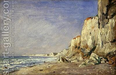 Falaise pres Dieppe; cliff; coastal; coast; beach; seaside by Adolphe-Felix Cals - Reproduction Oil Painting