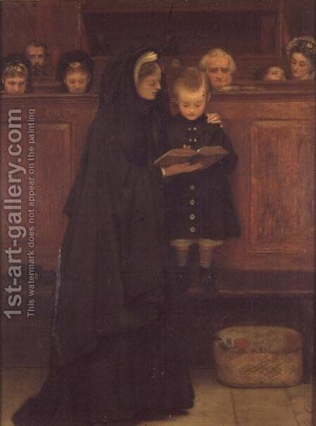 In Church, 1869 by Claude Andrew Calthrop - Reproduction Oil Painting