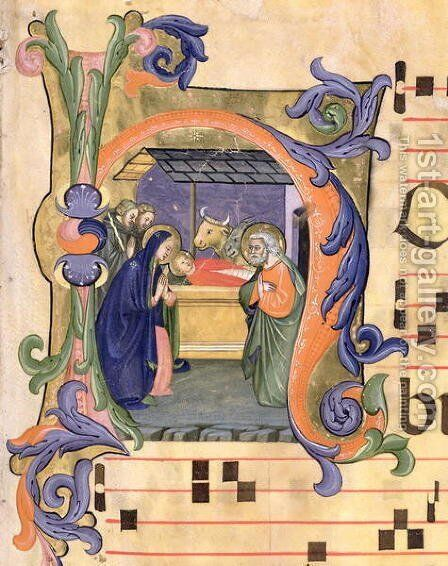 Ms 571 f.6r Historiated initial 'H' depicting the Nativity from an antiphon by Don Simone Camaldolese - Reproduction Oil Painting
