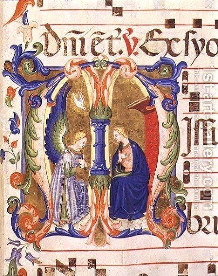 Ms 572 f.147r Historiated initial 'M' depicting the Annunciation from an antiphon from Santa Maria del Carmine, Florence by Don Simone Camaldolese - Reproduction Oil Painting