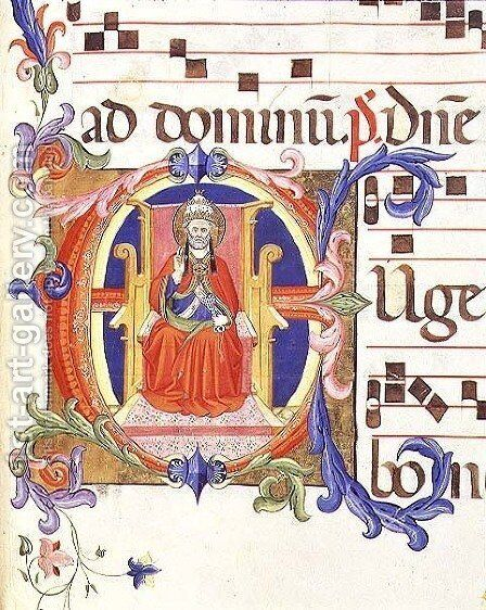 Ms 572 f.125r Historiated initial 'E' depicting St. Peter as the first bishop of Rome from an antiphon from Santa Maria del Carmine by Don Simone Camaldolese - Reproduction Oil Painting