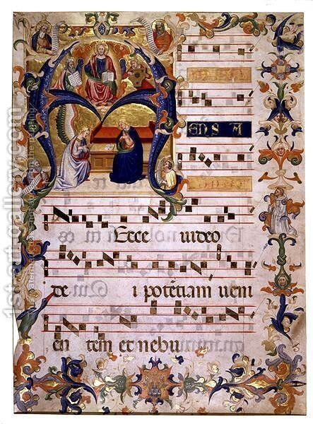 Frontispiece of a choirbook from Montoliveto Monastery, c.1390 by Don Simone Camaldolese - Reproduction Oil Painting