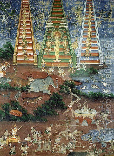 Buddha Descending from the Heaven of Thirty Three Gods by Anonymous Artist - Reproduction Oil Painting