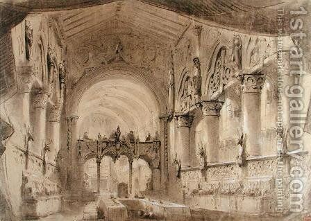 Set design for Act II of a performance of the opera 'Macbeth' by Charles Antoine Cambon - Reproduction Oil Painting