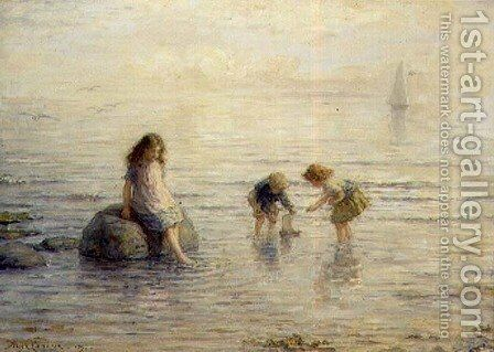Sailing the Toy Boat, 1897 by Hugh Cameron - Reproduction Oil Painting