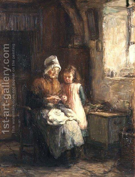 Dropping a Stitch, 1883 by Hugh Cameron - Reproduction Oil Painting
