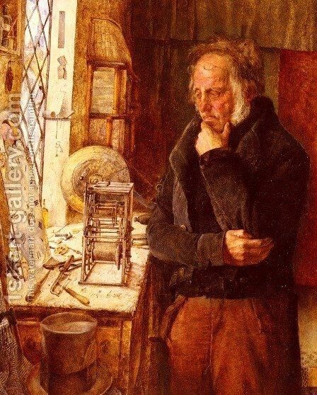 Our Village Clockmaker Solving a Problem, c.1859 by James Campbell - Reproduction Oil Painting