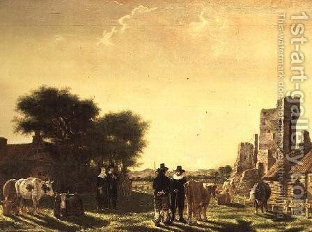 A Dutch Farm with the Ruins of the Huis te Kleef, c.1650 by Govert Dircksz. Camphuysen - Reproduction Oil Painting