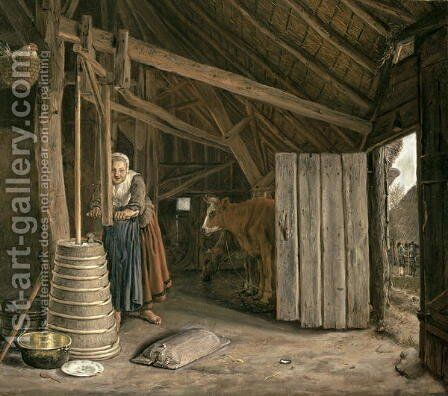 Barn Interior with a Maid Churning Butter by Govert Dircksz. Camphuysen - Reproduction Oil Painting