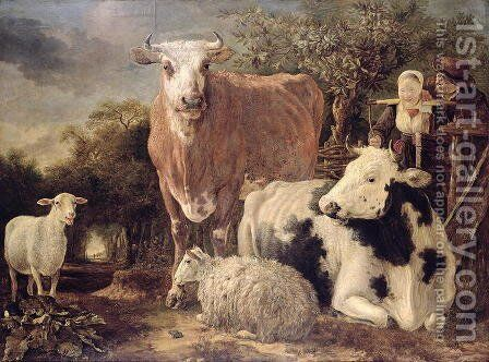 Herdsman and Herdswoman with Livestock, c.1647 by Govert Dircksz. Camphuysen - Reproduction Oil Painting