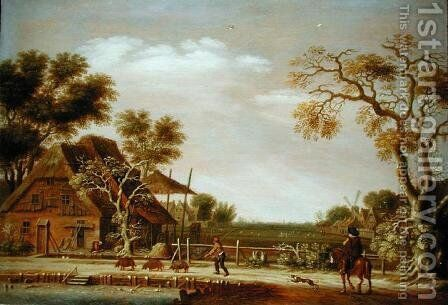 Village Scene with a Man Driving Three Pigs by Rafel Govertsz Camphuysen - Reproduction Oil Painting