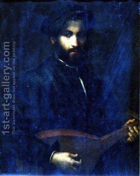 The Guitar Player by Giulio Campi - Reproduction Oil Painting