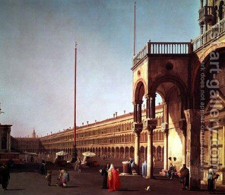 Piazza di San Marco, from the Piazetta, in Venice by (Giovanni Antonio Canal) Canaletto - Reproduction Oil Painting