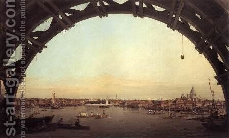 London seen through an arch of Westminster Bridge, 1746-47 by (Giovanni Antonio Canal) Canaletto - Reproduction Oil Painting